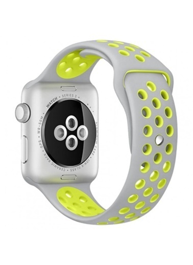 Jacobson Apple Watch 2 3 4 5 Nike 42-44mm DELİKLİ Sarı-Gr,Sarı-Gri Sarı